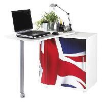 Bureau - Rehausse Bureau Bureau pivotant contemporain blanc mat et imprime drapeau anglais - L 105 cm