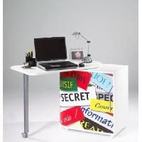 Bureau - Rehausse Bureau Bureau pivotant contemporain blanc mat et imprime top secret - L 105 cm