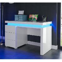 Bureau - Rehausse Bureau FLASH Bureau 120 cm avec LED multicolore - Blanc brillant