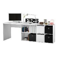 Bureau - Rehausse Bureau FONTANA Bureau d'angle contemporain blanc artik - L 136 203.5 cm