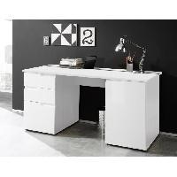 Bureau - Rehausse Bureau SPICE Bureau contemporain decor blanc mat et brillant - L 158 cm