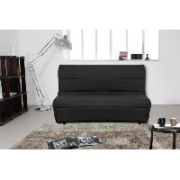 Bz - Banquette Bz AYAM Banquette BZ + matelas Dunlopillo 2 places - Tissu noir - Style contemporain - L 135 x P 105 cm