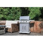 COOKINGBOX Barbecue gaz 3 feux en inox avec pince inox offerte