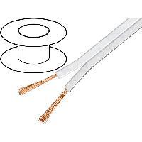 Cablage 100m de Cable de haut parleurs 2x0.5mm2 - OFC - Blanc