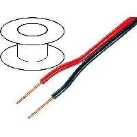 Cablage 1m de Cable de haut parleurs - 2x0.75mm2 OFC- noir et rouge