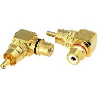 Cablage 2x Adaptateurs RCA Male Femelle dores coudes ADNAuto