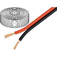 Cablage 50m de Cable de haut parleurs - 2x0.75mm2 OFC noir et rouge