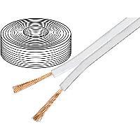 Cablage 50m de Cable de haut parleurs 2x1.5mm2 - OFC - Blanc