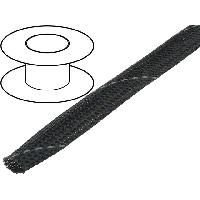 Cablage 50m gaine polyester tresse 1117 12mm gris fonce - ADNAuto