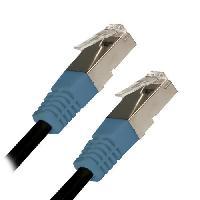 Cable - Adaptateur Reseau - Telephonie Cable RJ45 Cat.5 Blinde Droit Noir Bleu - 3m