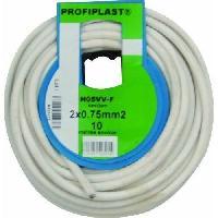 Cable - Fil - Gaine PROFIPLAST Couronne de cable 10 m HO5VVF 2 x 0.75 mm2 Blanc - Generique