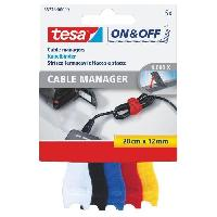 Cable - Fil - Gaine TESA Attache Cable - 0.2 m x 12 mm - 5 couleurs - 5 pieces