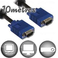 Cable Audio Video Câble VGA HD15 Mâle 10m - Permet de relier entre eux pour une liaison Vidéo. tout appareil équipé d'embases HD15 - Lineaire