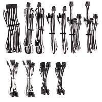 Cable D'alimentation CORSAIR Kit pro de cables pour alimentation type 4 Gen 4 Premium ? Blanc-Noir -CP-8920227-
