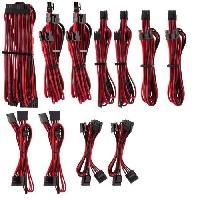 Cable D'alimentation CORSAIR Kit pro de cables pour alimentation type 4 Gen 4 Premium ? Rouge-Noir -CP-8920226-
