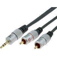 Cable Jack - Rca Cable noir Jack 3.5mm RCAx2 1.8m