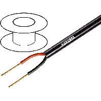 Cable de Haut-Parleurs 1m de Cable de haut parleurs 2x1.5mm2 - OFC - Noir- LSZH
