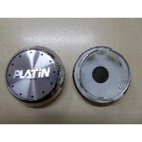Caches-moyeux 1 Cache moyeu plat avec sticker logo chrome pour jante P53 P56 P58 P60 - Ext 60mm - Int 50mm