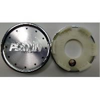 Caches-moyeux 1 Cache moyeu plat avec sticker logo chrome pour jante P53 P56 P58 P60 - Ext 60mm - Int 50mm - Platin