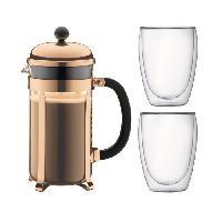 Cafetiere - Theiere - Chocolatiere BODUM CHAMBORD Set cafetiere a piston - 8 tasses - 1L -Marron - Avec 2 verres double paroi Pavina 0.35l