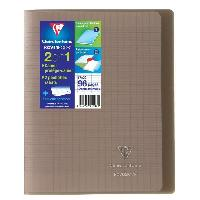 Cahier CLAIREFONTAINE - Cahier piqûre KOVERBOOK - 17 x 22 - 96 pages Seyes - Couverture Polypro translucide - Couleur marron