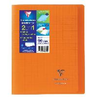 Cahier CLAIREFONTAINE - Cahier piqûre KOVERBOOK - 17 x 22 - 96 pages Seyes - Couverture Polypro translucide - Couleur orange - Alteclansing