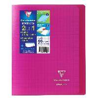 Cahier CLAIREFONTAINE - Cahier piqûre KOVERBOOK - 17 x 22 - 96 pages Seyes - Couverture Polypro translucide - Couleur rose