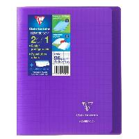 Cahier CLAIREFONTAINE - Cahier piqûre KOVERBOOK - 17 x 22 - 96 pages Seyes - Couverture Polypro translucide - Couleur violette