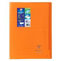 Cahier CLAIREFONTAINE - Cahier piqûre KOVERBOOK - 21 x 29.7 - 96 pages Seyes - Couverture Polypro translucide - Couleur orange