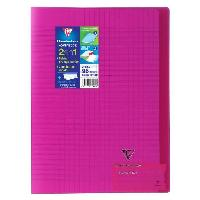 Cahier CLAIREFONTAINE - Cahier piqûre KOVERBOOK - 21 x 29.7 - 96 pages Seyes - Couverture Polypro translucide - Couleur rose