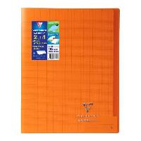 Cahier CLAIREFONTAINE - Cahier piqûre KOVERBOOK - 24 x 32 - 96 pages Seyes - Couverture Polypro translucide - Orange