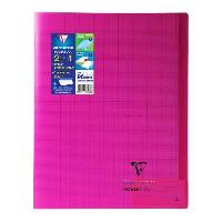 Cahier CLAIREFONTAINE - Cahier piqûre KOVERBOOK - 24 x 32 - 96 pages Seyes - Couverture Polypro translucide - Rose