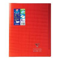Cahier CLAIREFONTAINE - Cahier piqûre KOVERBOOK - 24 x 32 - 96 pages Seyes - Couverture Polypro translucide - Rouge