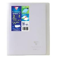 Cahier CLAIREFONTAINE - Cahier piqûre avec rabats KOVERBOOK - 17 x 22 - 96 pages Seyes - Couverture polyproplylene translucide - Incolore