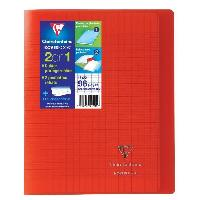 Cahier CLAIREFONTAINE - Cahier piqûre avec rabats KOVERBOOK - 17 x 22 - 96 pages Seyes - Couverture polyproplylene translucide - Rouge