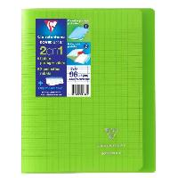 Cahier CLAIREFONTAINE - Cahier piqûre avec rabats KOVERBOOK - 17 x 22 - 96 pages Seyes - Couverture polyproplylene translucide - Verte