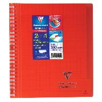 Cahier CLAIREFONTAINE - Cahier reliure avec rabats KOVERBOOK - 17 x 22 - 160 pages Seyes - Couverture polyproplylene translucide - Rouge