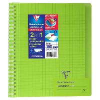 Cahier CLAIREFONTAINE - Cahier reliure avec rabats KOVERBOOK - 17 x 22 - 160 pages Seyes - Couverture polyproplylene translucide - Vert