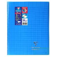 Cahier CLAIREFONTAINE - Cahier reliure avec rabats KOVERBOOK - 21 x 29.7 - 160 pages Seyes - Couverture polyproplylene translucide - Bleu