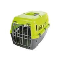 Caisse - Cage De Transport Panier de transport pour chien gris en plastique avec couvercle vert h 46 x L 31 x l 32cm Generique