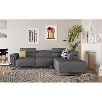 Canape - Sofa - Divan ACHIL Canape de relaxation electrique angle droit fixe 5 places - Tissu gris fonce - Contemporain - L 263 x P 194 cm