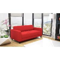 Canape - Sofa - Divan Canape convertible KULMA 3 places - Tissu - 166x81x71 cm - Rouge