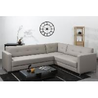 Canape - Sofa - Divan Canape d'angle panoramique NYKYAJAN en simili 4 places - 255x212x81 cm - Taupe