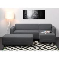 Canape - Sofa - Divan Canape d'angle reversible convertible 4 places + banc KULMA - 205x141x70 cm - Tissu - Gris