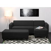 Canape - Sofa - Divan Canape d'angle reversible convertible + banc KULMA 4 places - 205x141x70 cm - Tissu - Noir
