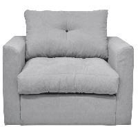 Canape - Sofa - Divan JEFF Fauteuil convertible deplimousse - Tissu gris clair - Contemporain - L 95 x P 78 cm