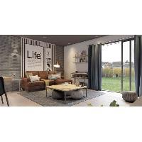 Canape - Sofa - Divan ROCK IT Canape d'angle reversible 4 places - Tissu marron effet vieilli - Vintage - L 210 x P 145 cm