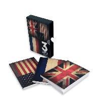 Carnet De Notes - Carnet De Bord Boite de 3 carnets - Format 14x10 cm - Papier Blanc 70 gr FSC non ligne - decor USAUnion Jack