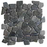 Carrelage - Plaquette De Parement - Brique De Verre - Decor - Plinthe Carrelage GALET EON NOIR MARBRE 30X30 CM
