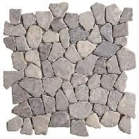 Carrelage - Plaquette De Parement - Brique De Verre - Decor - Plinthe Carrelage Galet - 30 x 30 cm - Gris marbre - Pour l'interieur uniquement